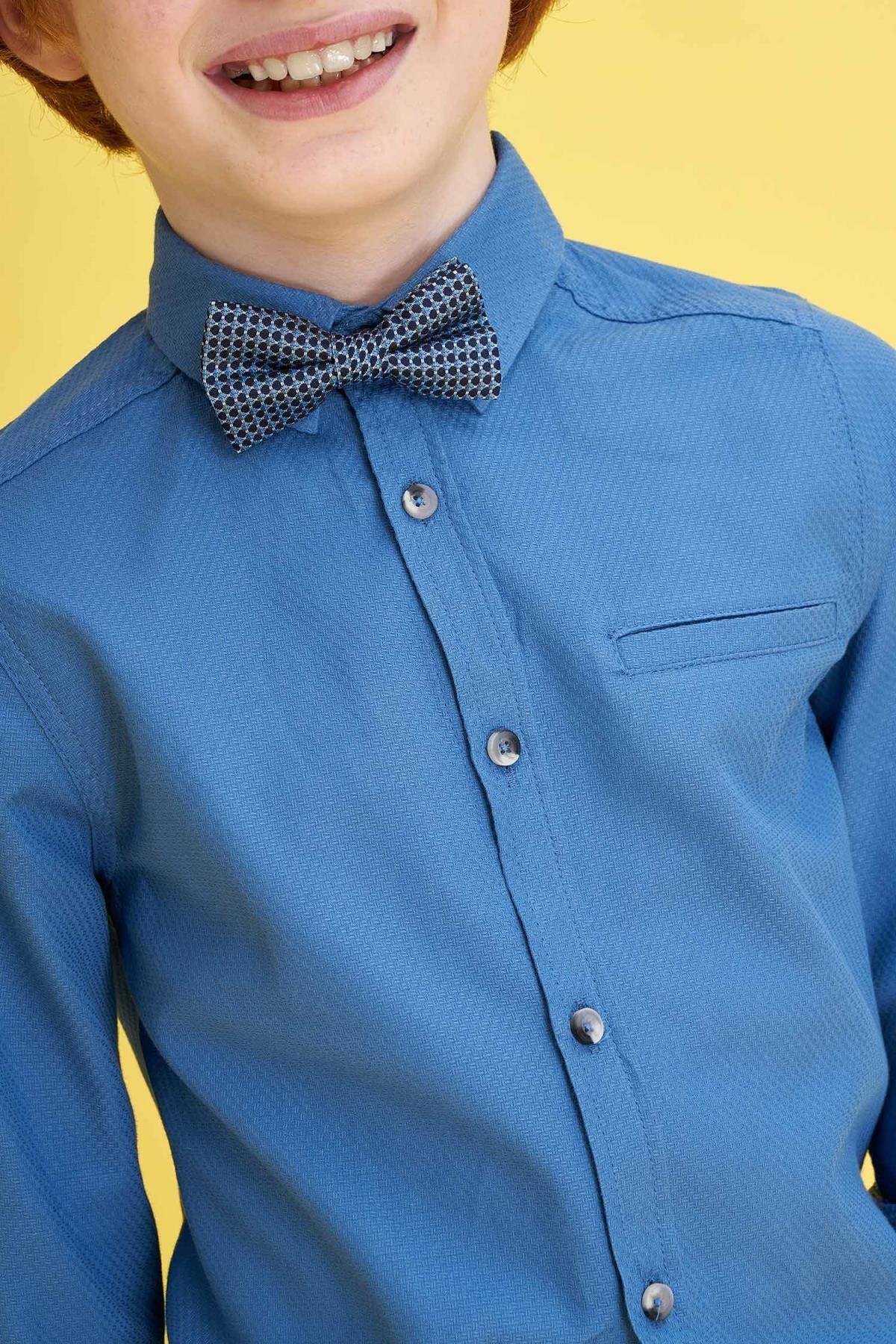 Defacto Erkek Çocuk Papyonlu Pamuklu Kolları Katlanabilir Gömlek 1