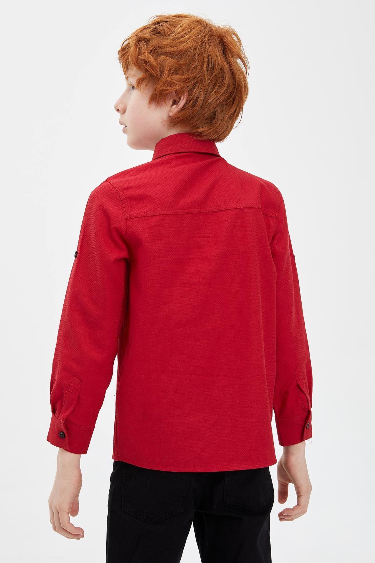 Defacto Erkek Çocuk Papyonlu Pamuklu Kolları Katlanabilir Gömlek 3