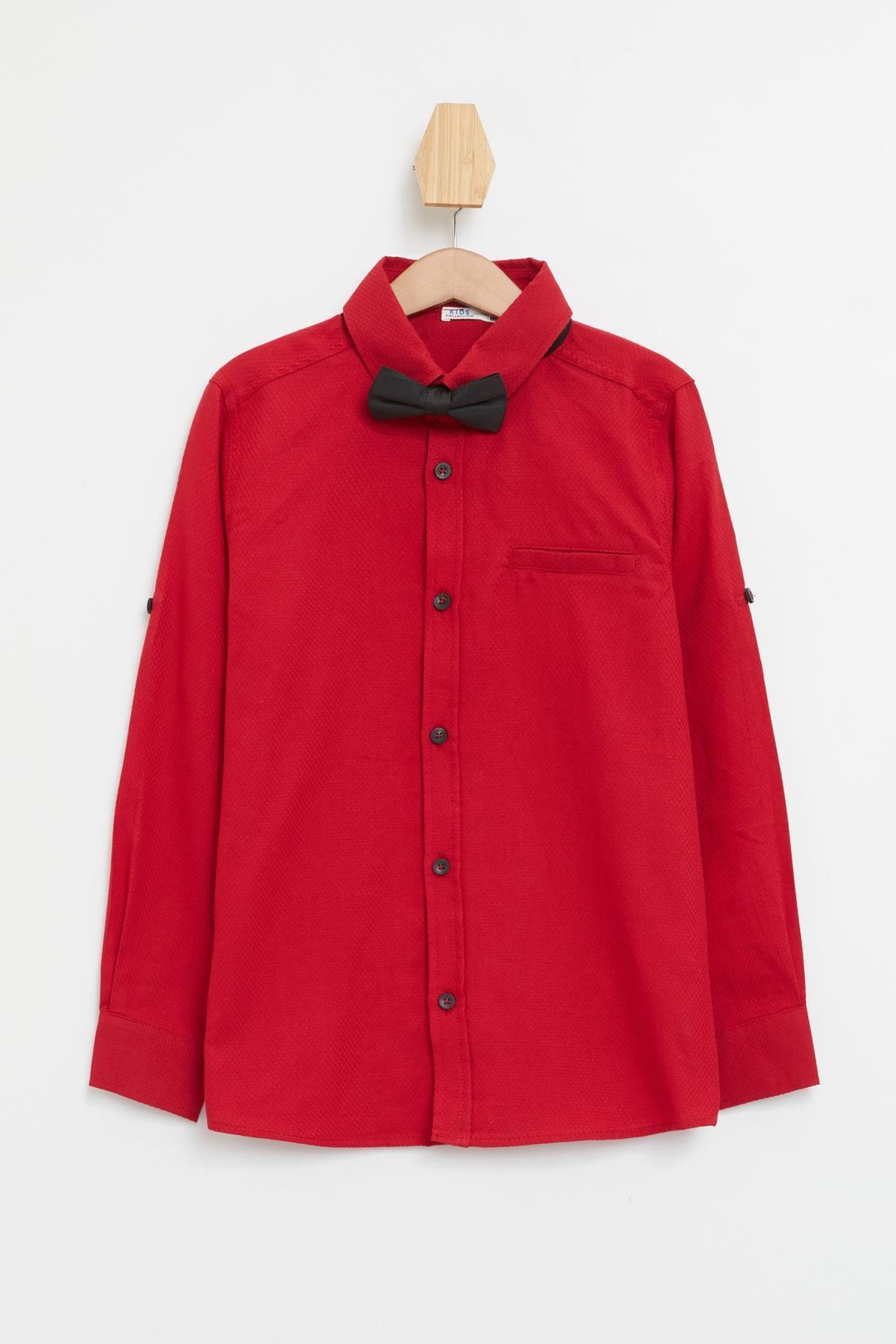 Defacto Erkek Çocuk Papyonlu Pamuklu Kolları Katlanabilir Gömlek 4