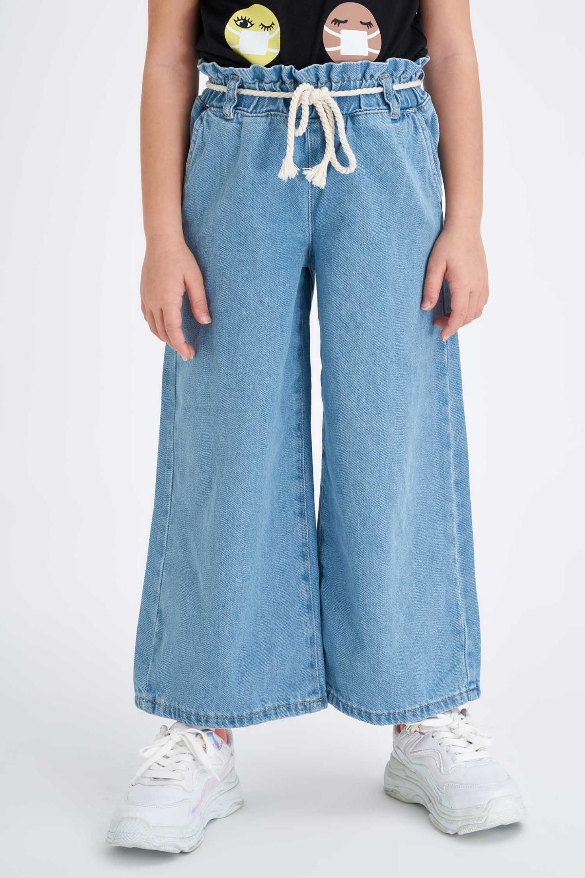 Defacto Kız Çocuk Geniş Paça Hasır Ipli Jean Pantolon 1