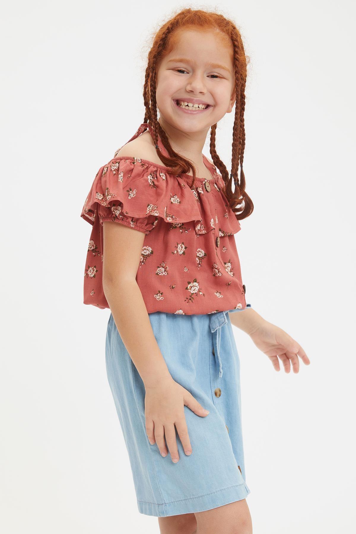 Defacto Kız Çocuk Çiçek Desenli Kısa Kollu Bluz 0