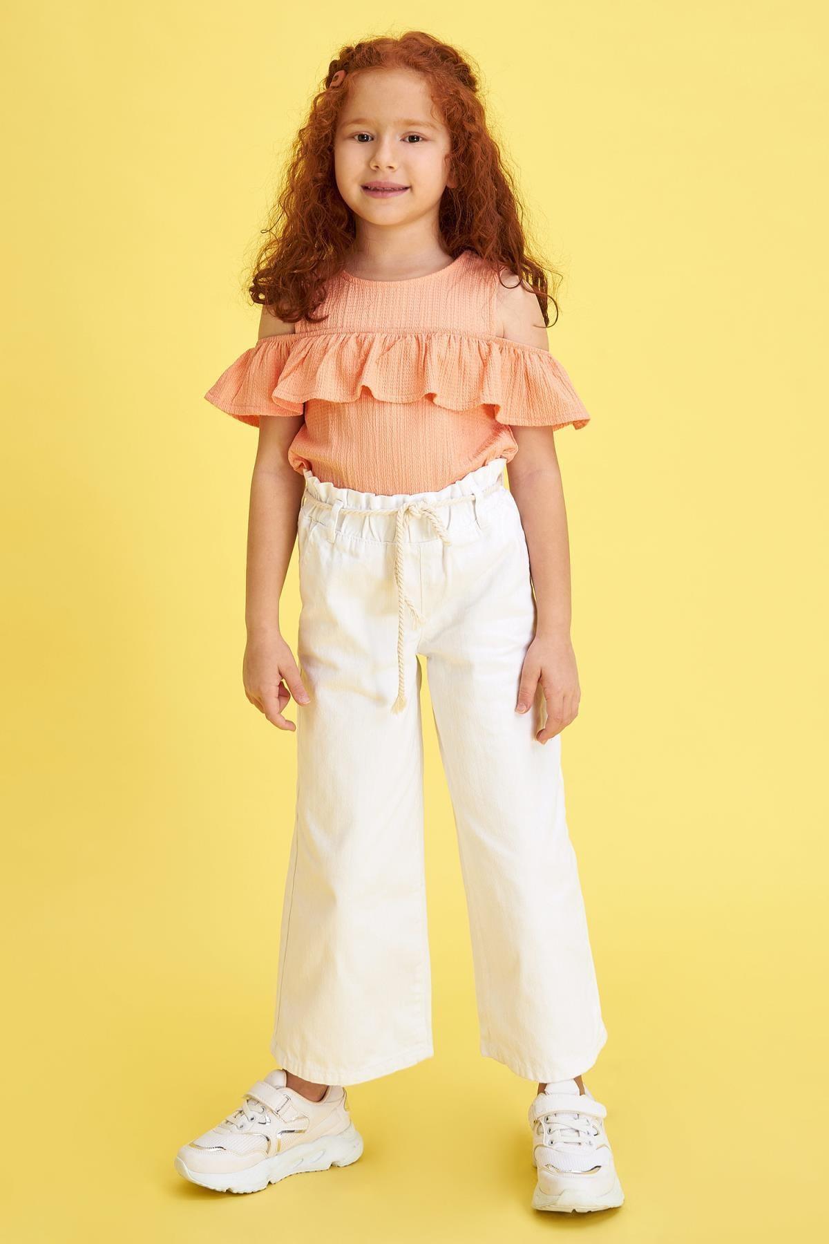 Defacto Kız Çocuk Geniş Paça Beyaz Jean Pantolon 0