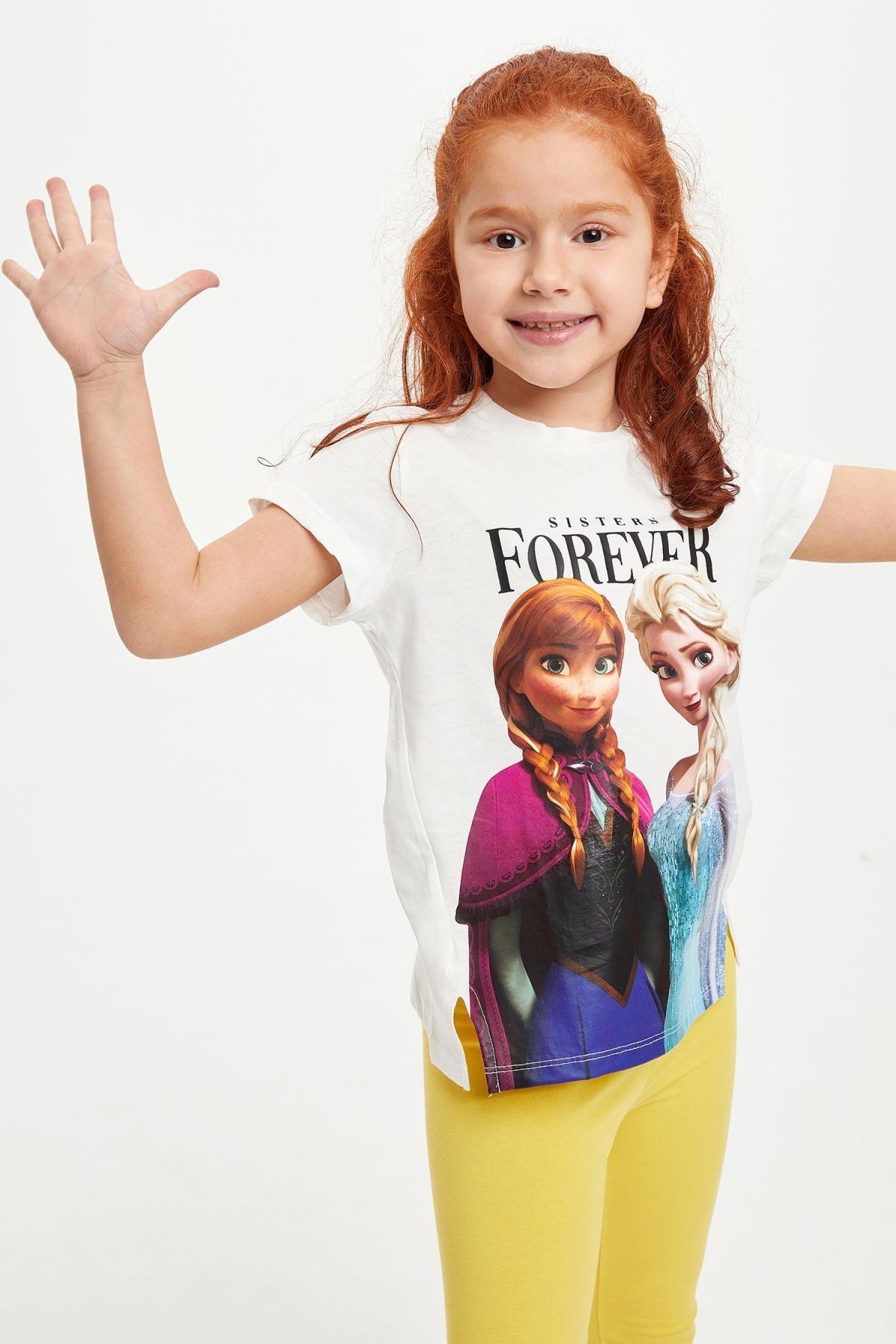 Defacto Kız Çocuk Frozen Lisanslı Kısa Kollu T-shirt 0