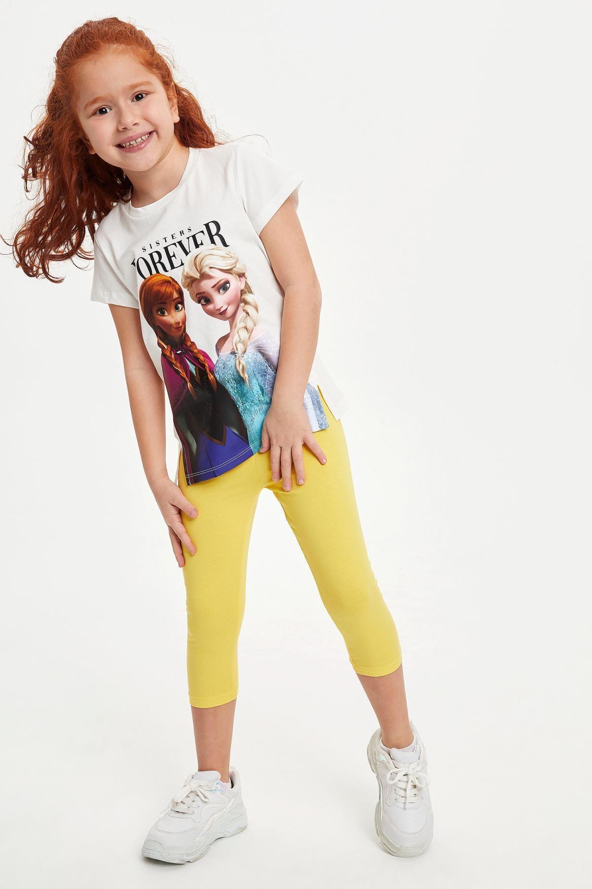 Defacto Kız Çocuk Frozen Lisanslı Kısa Kollu T-shirt 1