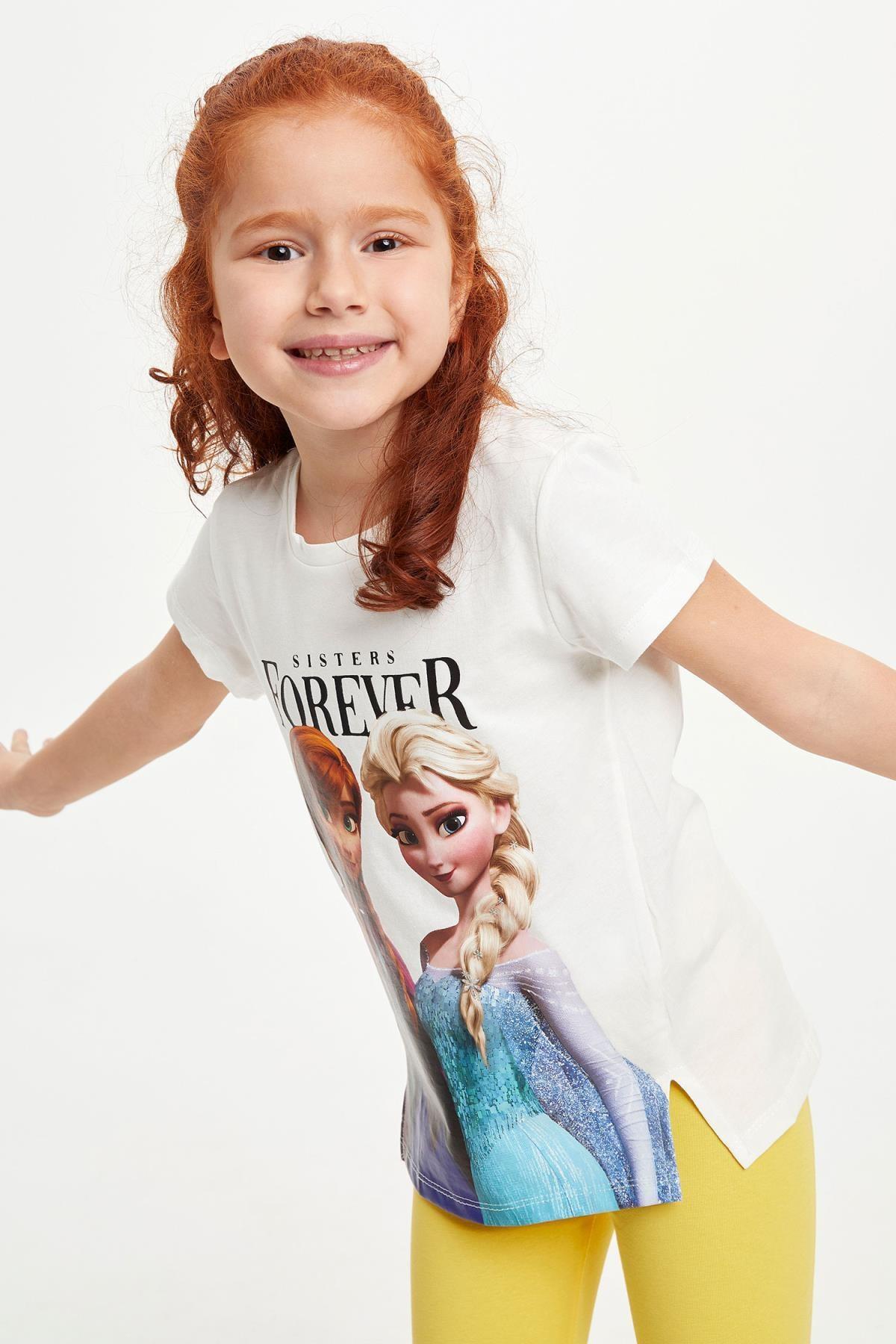 Defacto Kız Çocuk Frozen Lisanslı Kısa Kollu T-shirt 2