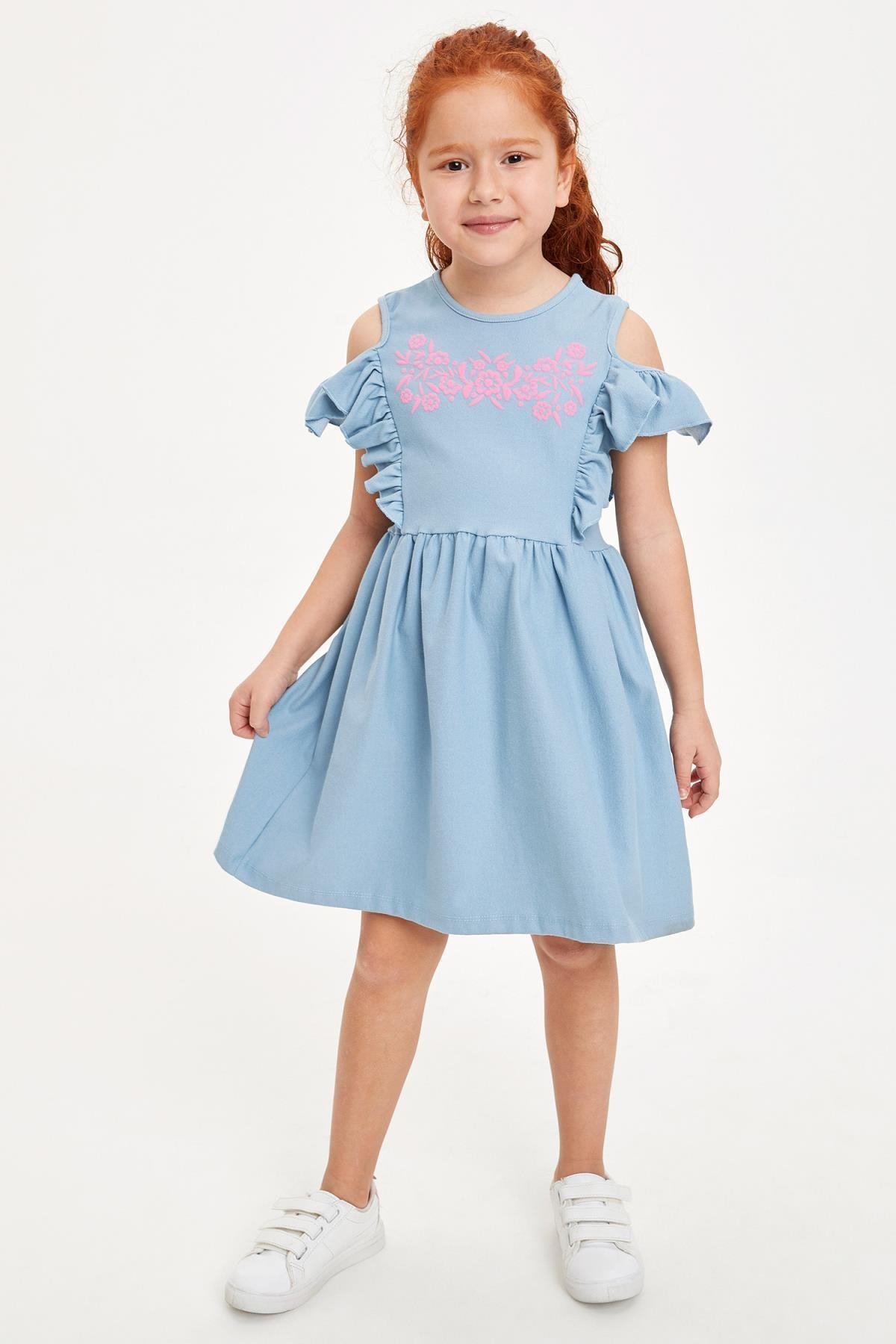 Defacto Kız Çocuk Baskılı Kol Detaylı Örme Elbise 0