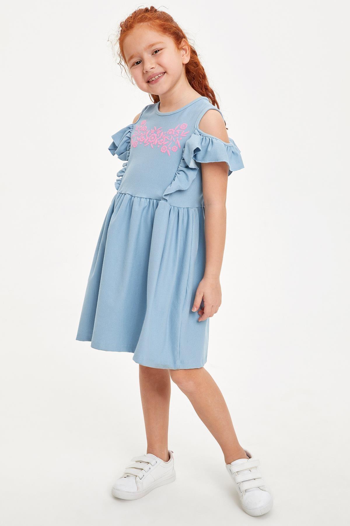 Defacto Kız Çocuk Baskılı Kol Detaylı Örme Elbise 1