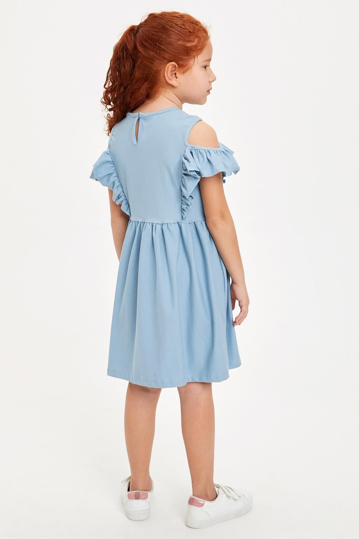 Defacto Kız Çocuk Baskılı Kol Detaylı Örme Elbise 3