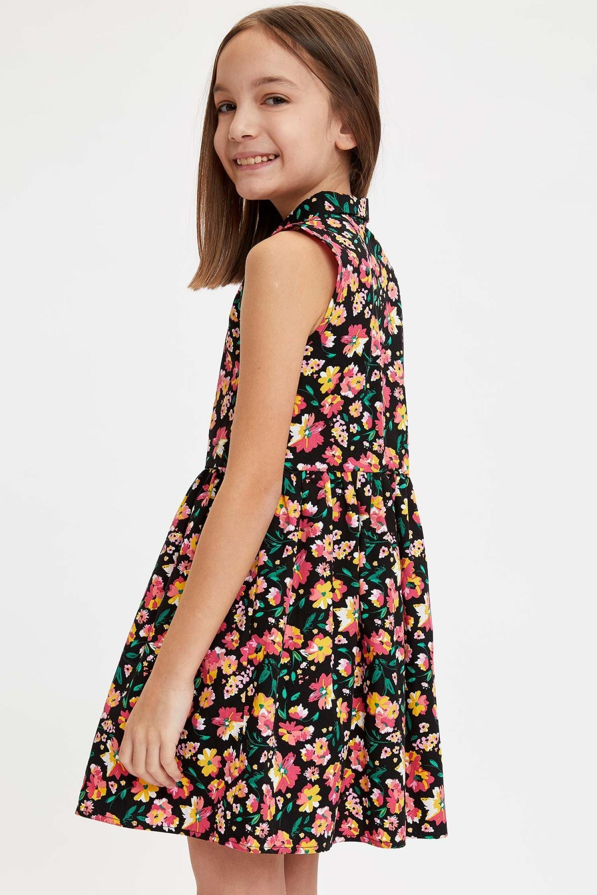 Defacto Kız Çocuk Çiçek Baskılı Düğmeli Dokuma Elbise
