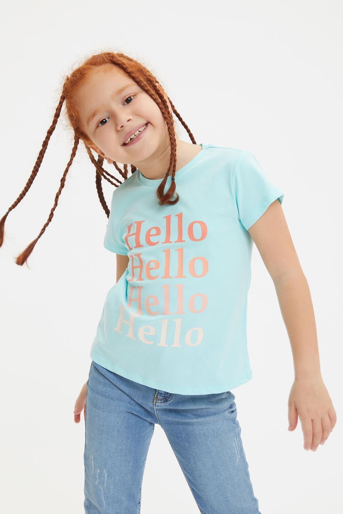 Defacto Kız Çocuk Yazı Baskılı Kısa Kollu Tişört 0