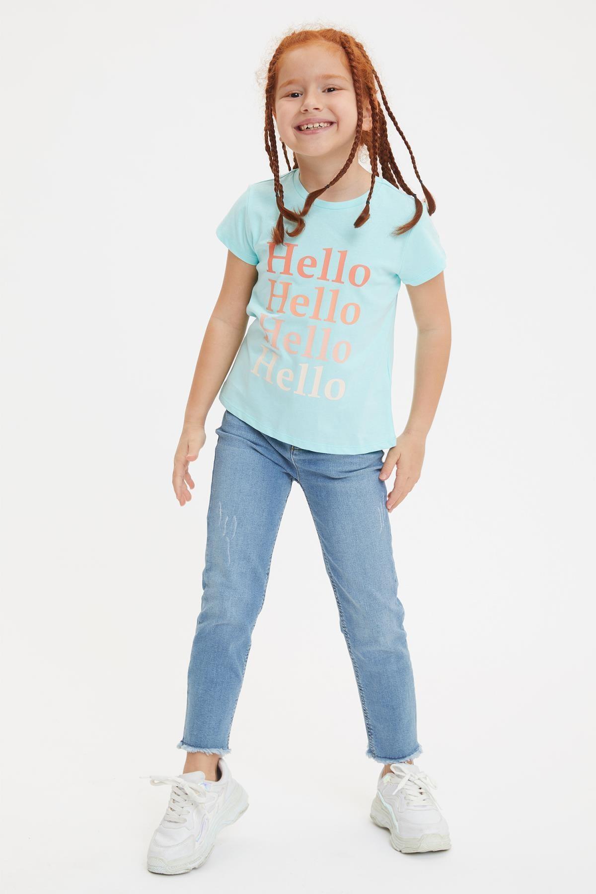 Defacto Kız Çocuk Yazı Baskılı Kısa Kollu Tişört 1