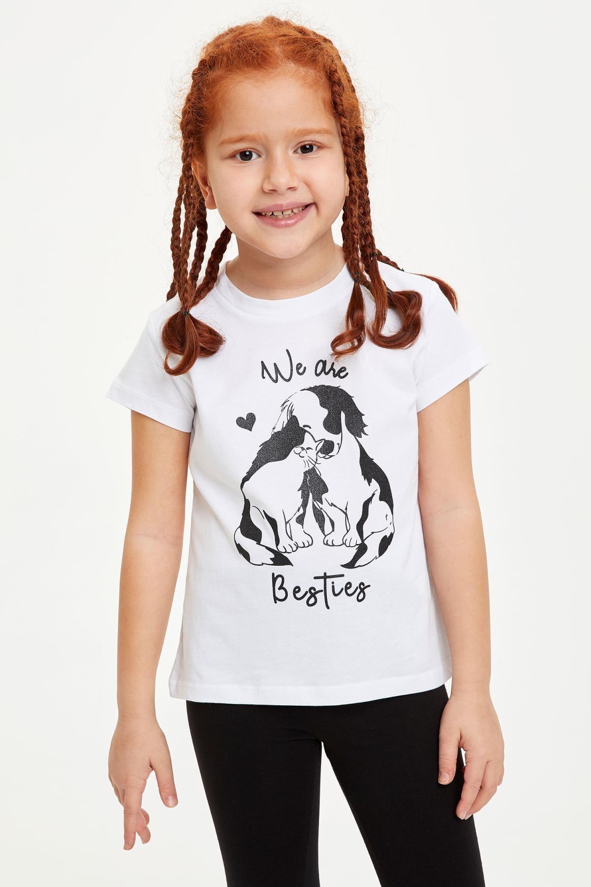 Defacto Kız Çocuk Baskılı Kısa Kollu Tişört 2