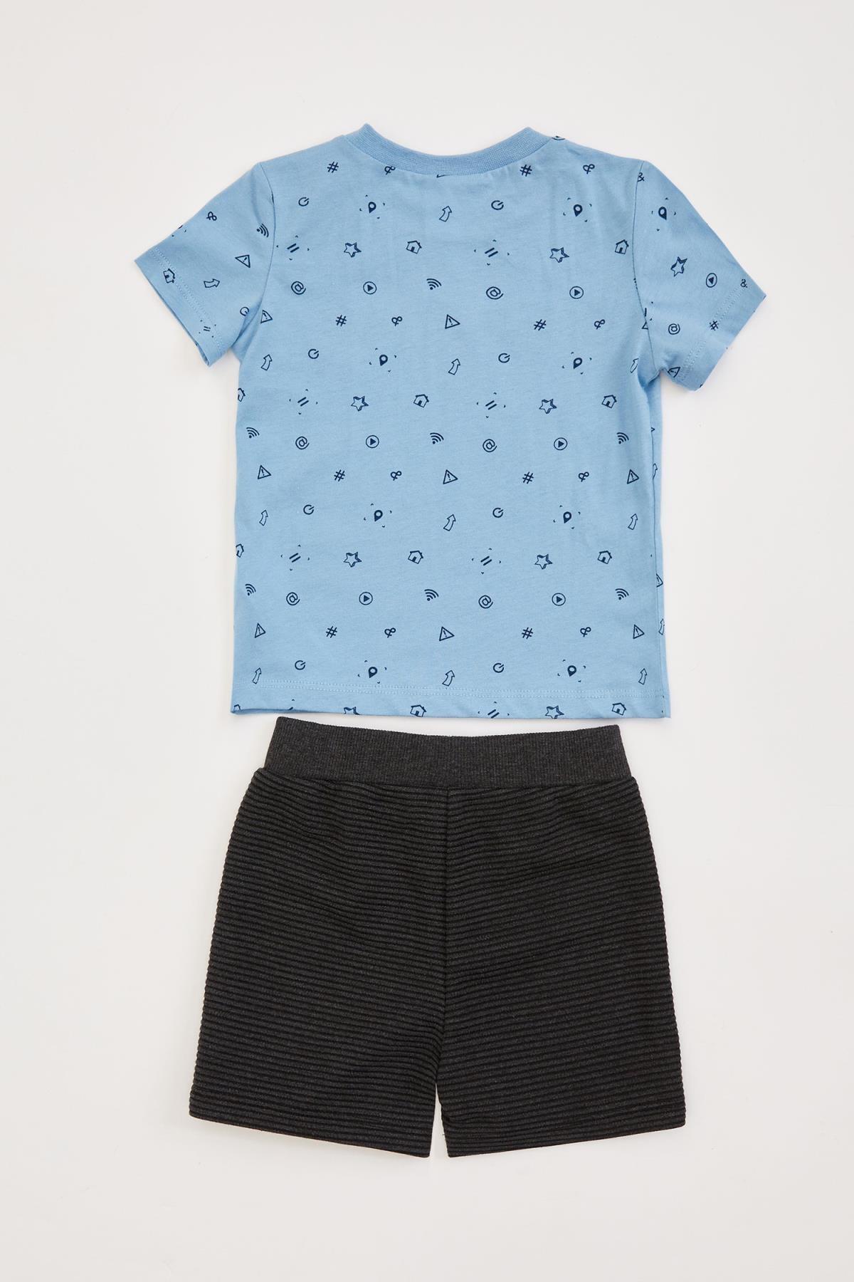 Defacto Erkek Bebek Baskılı Şort Tişört Takım 1
