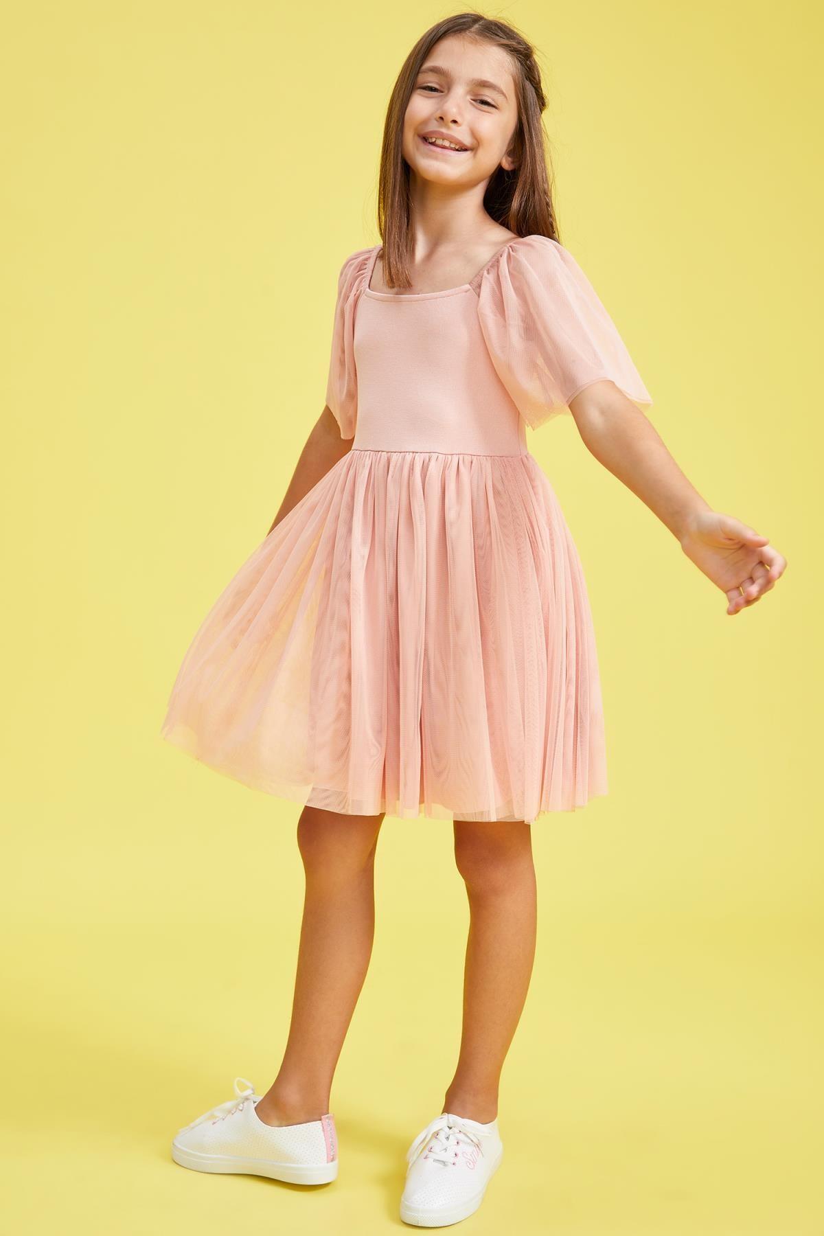 Defacto Kız Çocuk Tül Detaylı Askılı Elbise 0