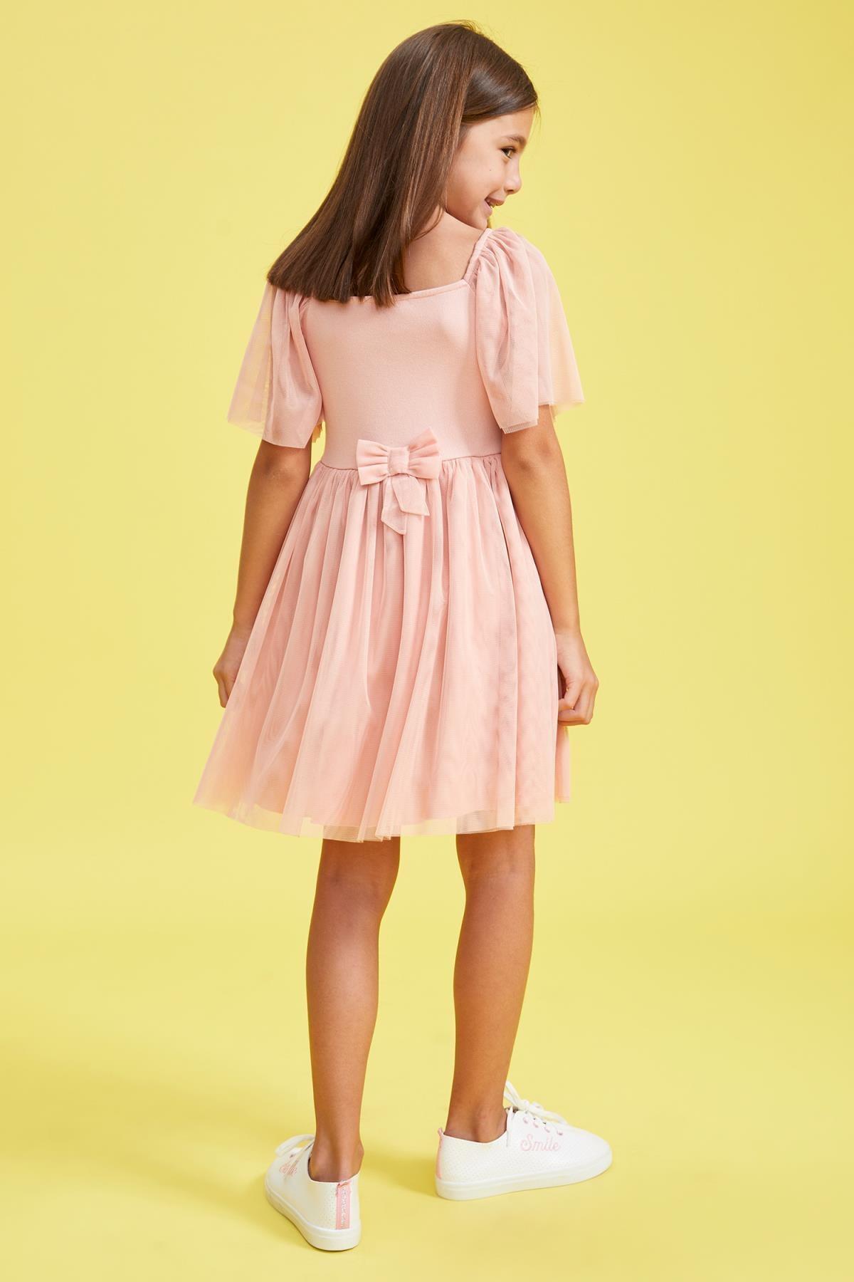 Defacto Kız Çocuk Tül Detaylı Askılı Elbise 2
