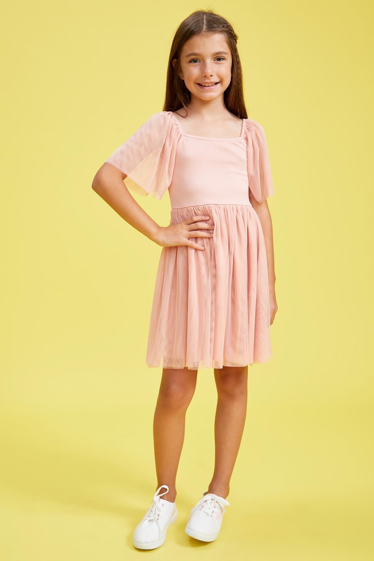 Defacto Kız Çocuk Tül Detaylı Askılı Elbise 3