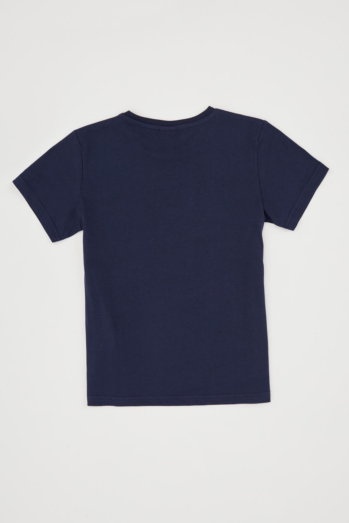 Defacto Erkek Çocuk Palmiye Baskılı Bisiklet Yaka Pamuklu Tişört 1