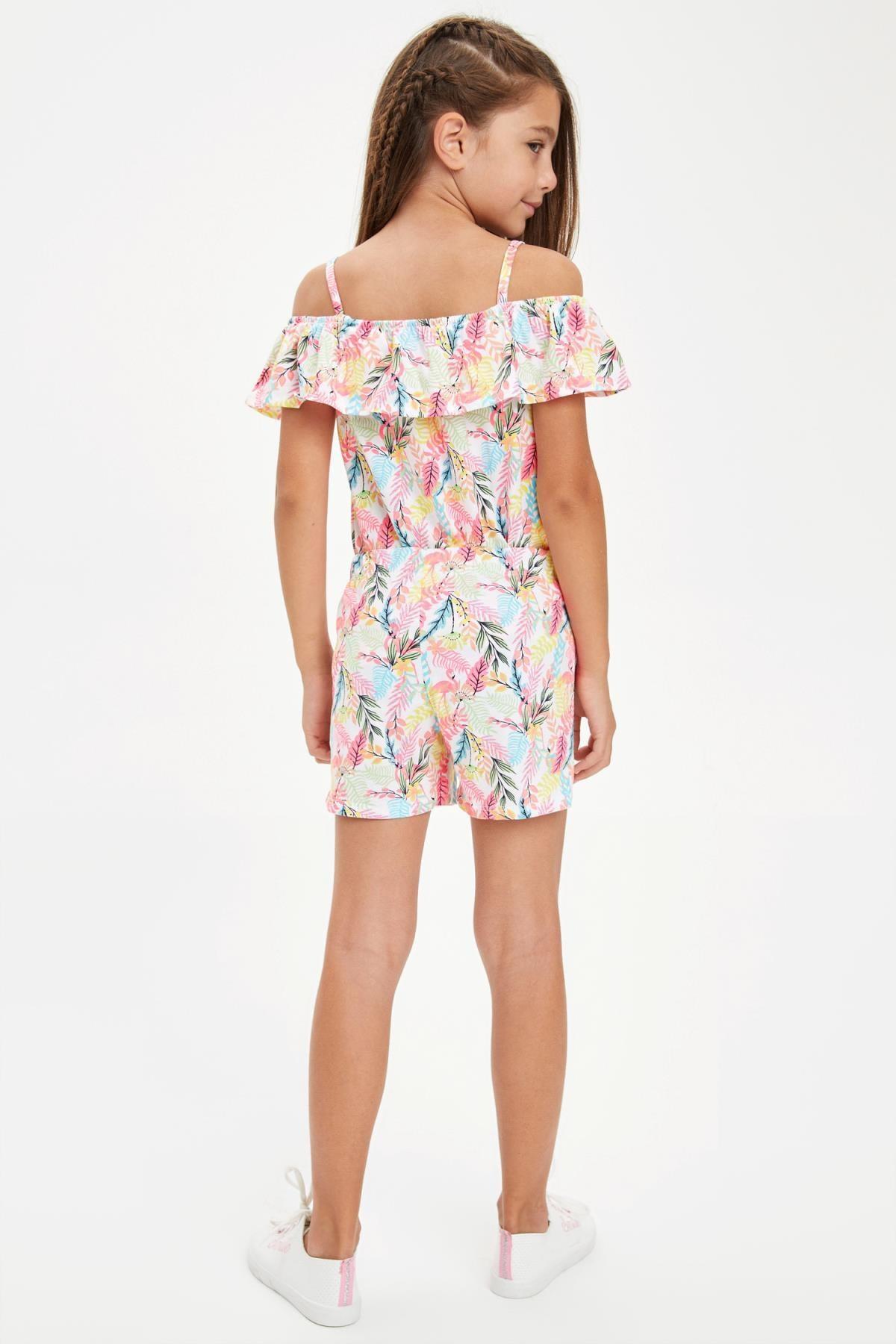Defacto Kız Çocuk Flamingo Desenli Fırfırlı Bluz ve Şort Takım 2