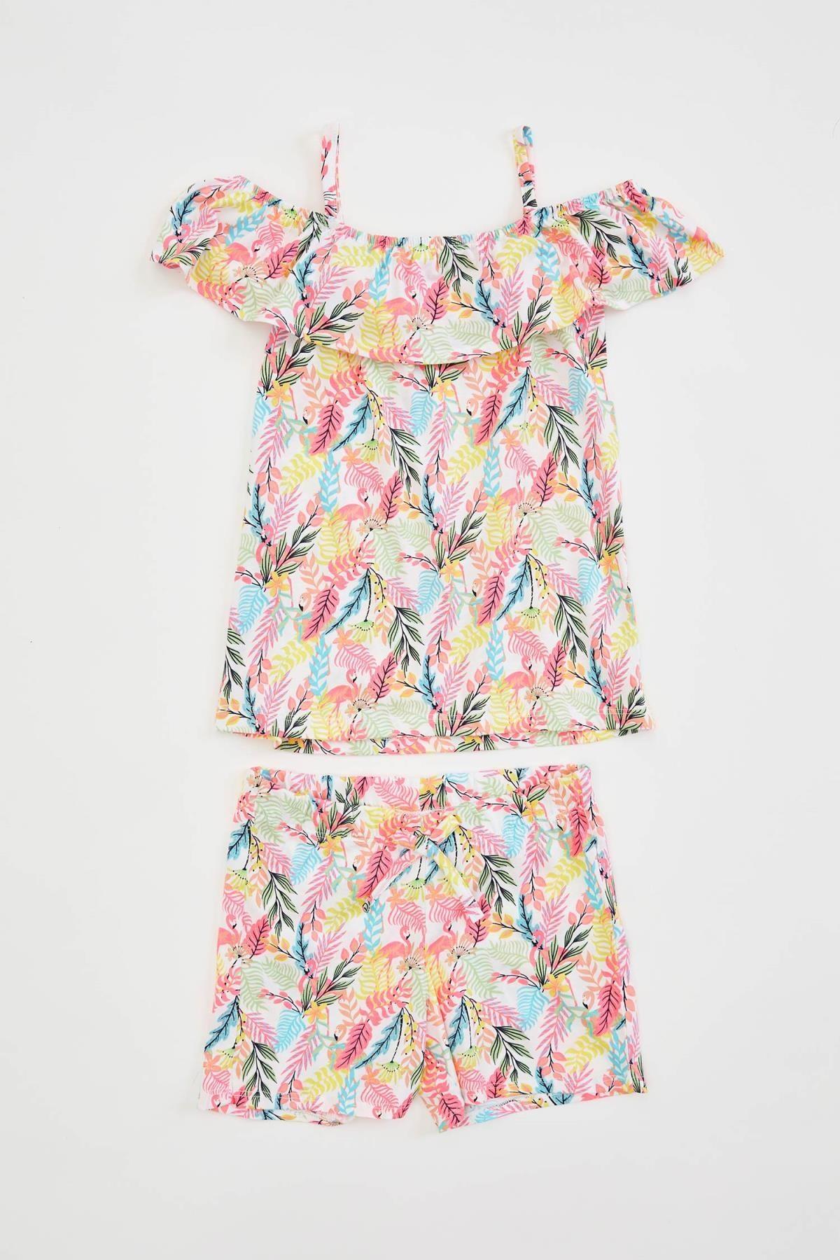 Defacto Kız Çocuk Flamingo Desenli Fırfırlı Bluz ve Şort Takım 3