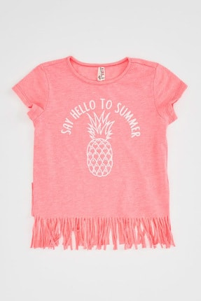 Defacto Baskılı Püskül Detaylı Kısa Kollu T-shirt 3