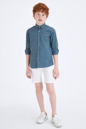 Defacto Erkek Çocuk Tek Cepli Kolu Katlamalı Pamuklu Gömlek 1