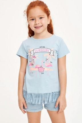 Defacto Kız Çocuk Baskılı Püskül Detaylı Kısa Kollu T-shirt 0