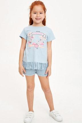 Defacto Kız Çocuk Baskılı Püskül Detaylı Kısa Kollu T-shirt 1