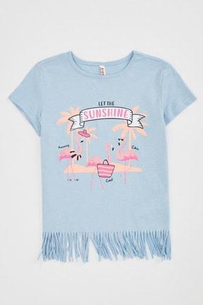 Defacto Kız Çocuk Baskılı Püskül Detaylı Kısa Kollu T-shirt 2