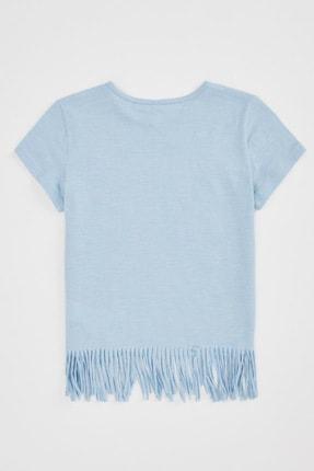 Defacto Kız Çocuk Baskılı Püskül Detaylı Kısa Kollu T-shirt 3