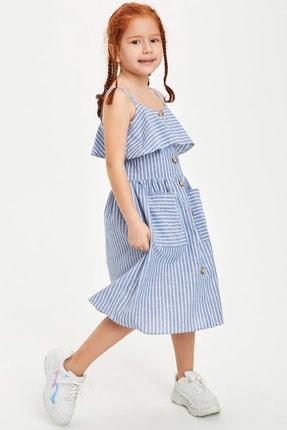 Defacto Kız Çocuk Çizgili Düğmeli Dokuma Elbise 1