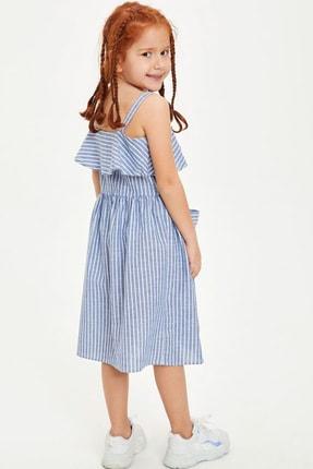 Defacto Kız Çocuk Çizgili Düğmeli Dokuma Elbise 3