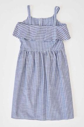 Defacto Kız Çocuk Çizgili Düğmeli Dokuma Elbise 4