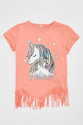 Defacto Kız Çocuk Unicorn Baskılı Püskül Detaylı Kısa Kollu T-shirt 3