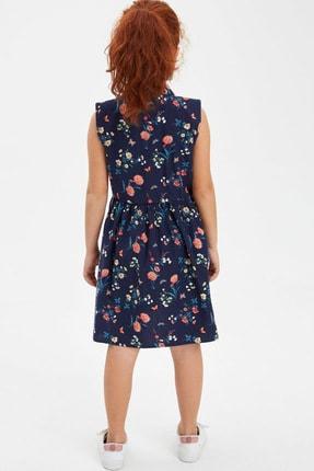 Defacto Kız Çocuk Baskılı Düğmeli Kolsuz Dokuma Elbise 1