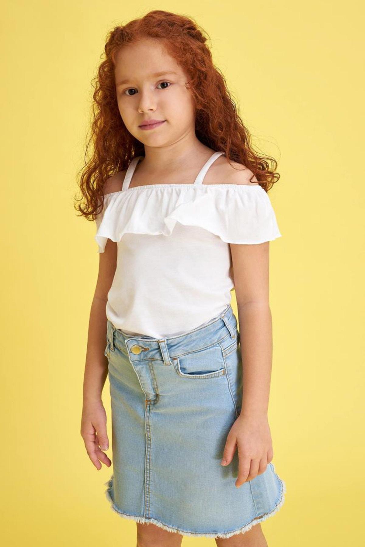 Kız Çocuk Ince Askılı Volanlı Bluz