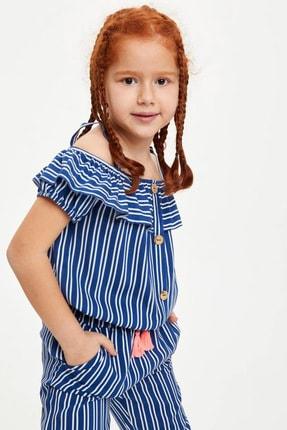 Defacto Kız Çocuk Çizgili Kısa Kollu Bluz 2