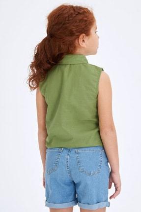 Defacto Kız Çocuk Bağlama Detaylı Kolsuz Gömlek 2