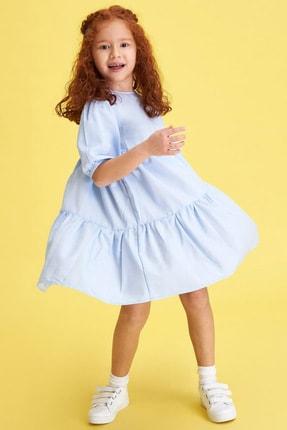 Defacto Kız Çocuk Relax Fit Kısa Kollu Dokuma Elbise 1