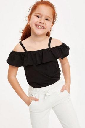 Defacto Kız Çocuk Askılı Fırfırlı Bluz 0