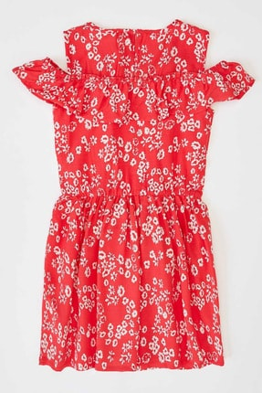 Defacto Kız Çocuk Çiçek Baskılı Dokuma Elbise 1