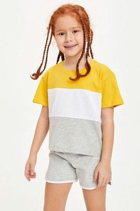 Defacto Kız Çocuk Renk Bloklu Kısa Kollu Tişört 1