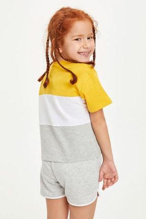 Defacto Kız Çocuk Renk Bloklu Kısa Kollu Tişört 2