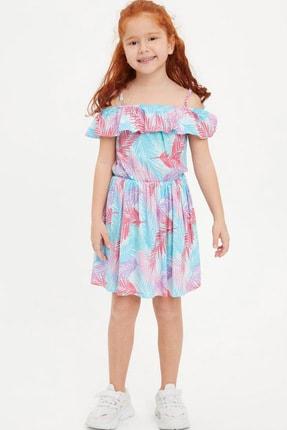 Defacto Kız Çocuk Tropik Desenli Dokuma Elbise 1