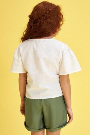 Defacto Kız Çocuk Bağlama Detaylı Kısa Kollu Bluz 3