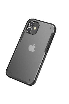 Pickcase Apple Iphone 12 Pro 6.1 Kılıf Kamera Korumalı Arkası Mat Kenarları Siyah Arka Kapak 1