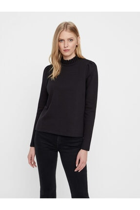 Vero Moda Kadın Siyah Yaka Detaylı Sweatshirt 10206533 VMFOREST 1