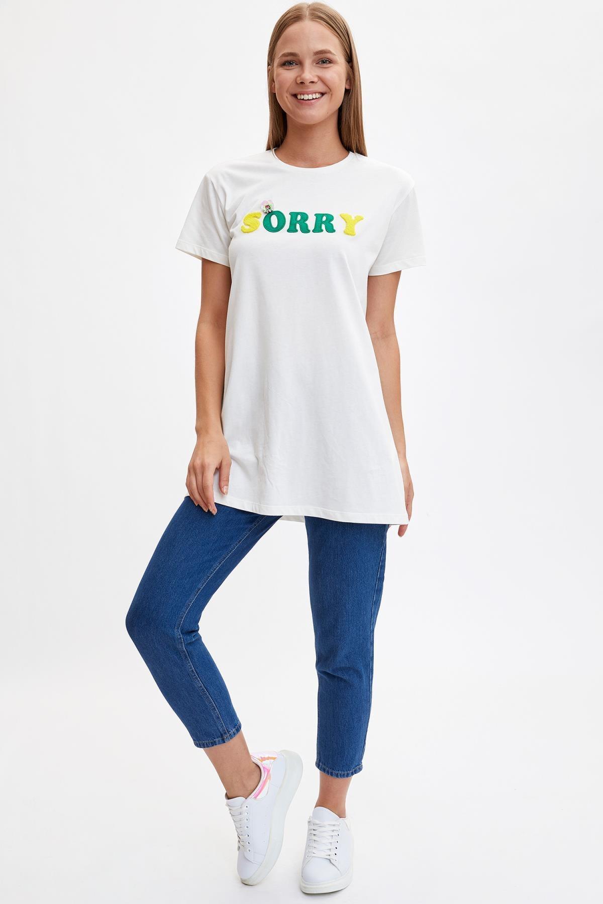 Defacto Kadın Modest Ekru Baskılı Uzun T-shirt M0131AZ.19HS.ER105 1