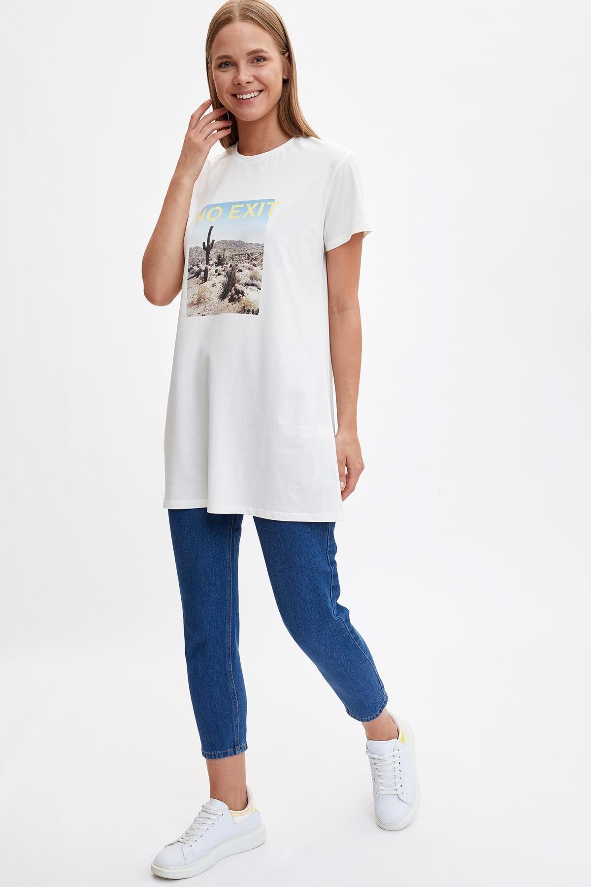 Defacto Kadın Modest Ekru Baskılı Kısa Kollu Uzun T-shirt M0127AZ.19HS.ER105 1