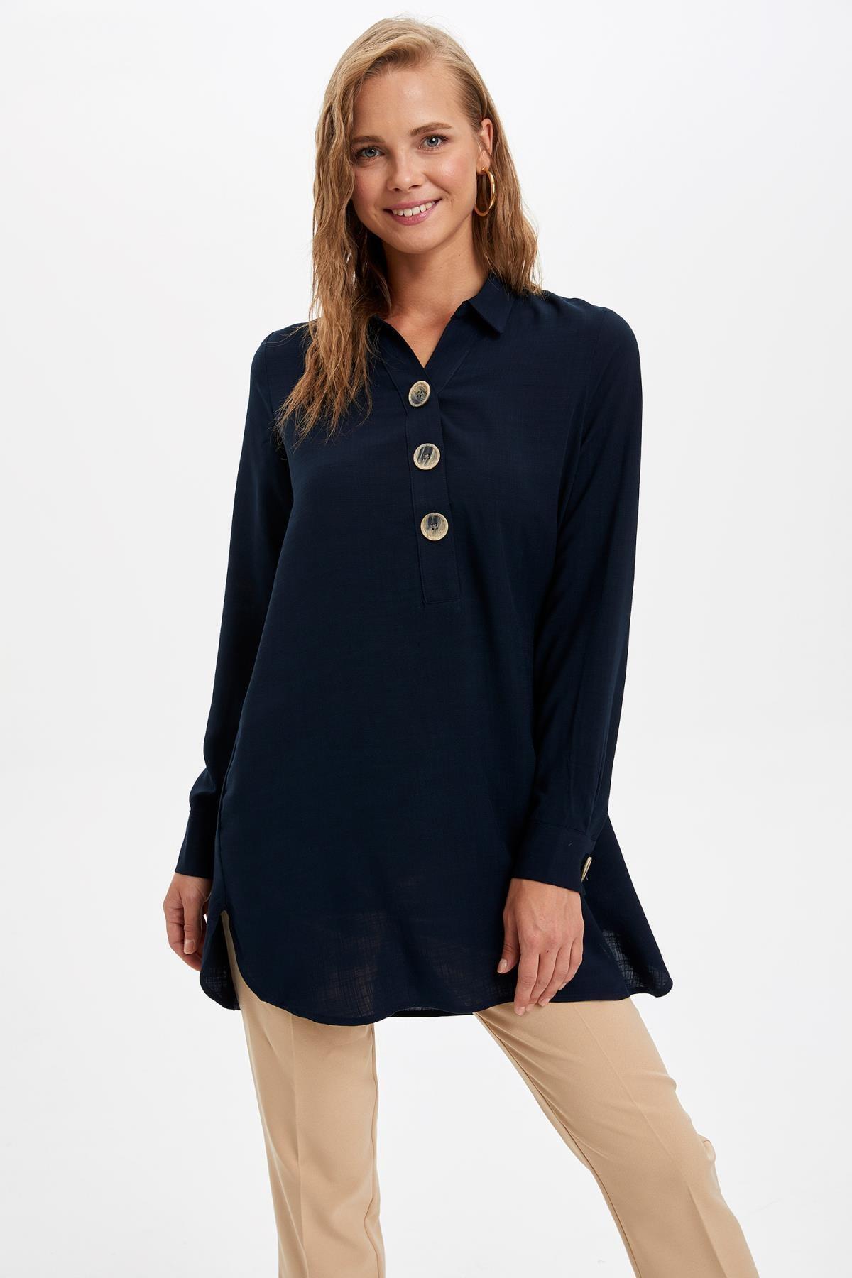 Defacto Kadın Lacivert Gömlek Yaka Düğmeli Tunik L0990AZ.19AU.NV167 0