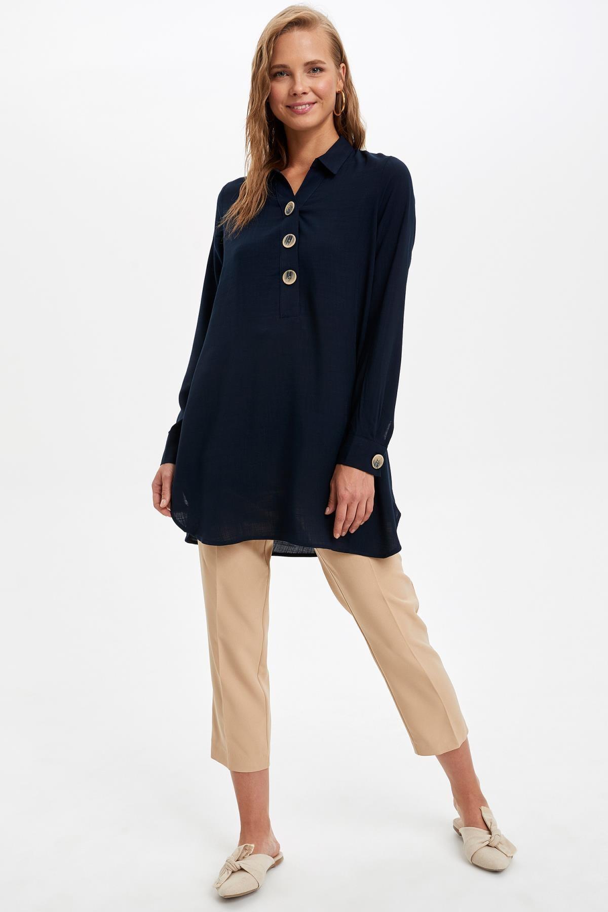 Defacto Kadın Lacivert Gömlek Yaka Düğmeli Tunik L0990AZ.19AU.NV167 1